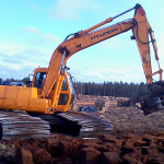 Break with excavator